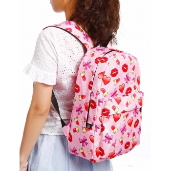 Cute Printed Backpacks with Clutch Bag