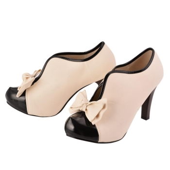 Beige Cute Bow Round Toe High Heel Pump